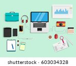 blue desk  business concept ... | Shutterstock .eps vector #603034328