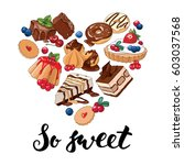 set of different sweets in the... | Shutterstock .eps vector #603037568