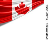 canada flag of silk with... | Shutterstock . vector #603043058