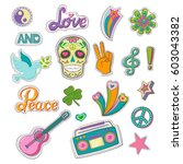 set of patch badges in hippie... | Shutterstock .eps vector #603043382