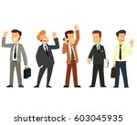 group of satisfied businessmen. ... | Shutterstock .eps vector #603045935