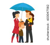 happy family under umbrella.... | Shutterstock .eps vector #603047582