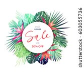 summer vector floral sale... | Shutterstock .eps vector #603055736