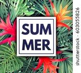 green botanical summer tropical ... | Shutterstock .eps vector #603055826