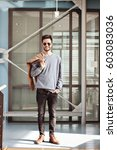 trendy indian hipster in sun... | Shutterstock . vector #603083036