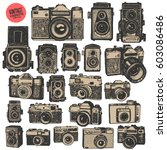 hand drawing retro photo... | Shutterstock .eps vector #603086486