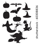 halloween silhouettes | Shutterstock .eps vector #60308836