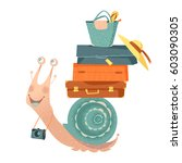 snail travels with suitcases... | Shutterstock .eps vector #603090305