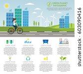 ecology girl bike infographic... | Shutterstock .eps vector #603090416