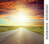 Asphalt Road To Red Horizon In...