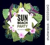 bright vector floral banner... | Shutterstock .eps vector #603101642