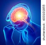 3d illustration of male feeling ... | Shutterstock . vector #603101855