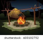 camping night scene with teapot ... | Shutterstock .eps vector #603102752