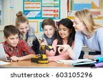 pupils and teacher in science... | Shutterstock . vector #603105296
