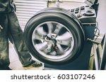 mechanic worker makes computer...   Shutterstock . vector #603107246