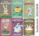 vintage easter egg poster... | Shutterstock .eps vector #603110636