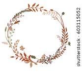 laurel or wreath made of wild... | Shutterstock .eps vector #603115052