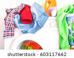 messy laundry clothes on... | Shutterstock . vector #603117662