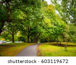 pathway with trees in garden. | Shutterstock . vector #603119672