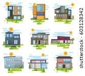 houses illustration vector set | Shutterstock .eps vector #603128342
