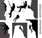 rock climbers silhouette... | Shutterstock .eps vector #603133265