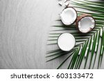 composition with fresh coconut... | Shutterstock . vector #603133472