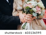 the groom in a suit and the... | Shutterstock . vector #603136595