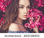 outdoor fashion photo of... | Shutterstock . vector #603138302