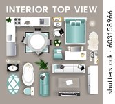 set top view for interior.... | Shutterstock .eps vector #603158966