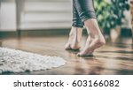 floor heating. young woman... | Shutterstock . vector #603166082