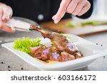 chef cooking restaurant food... | Shutterstock . vector #603166172
