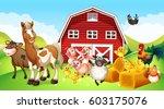 farm animals living on the farm ... | Shutterstock .eps vector #603175076