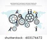 people showing teamwork on gear.... | Shutterstock .eps vector #603176672