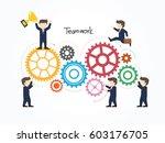 teamwork with gear concept....   Shutterstock .eps vector #603176705