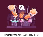 young bartender pouring drinks | Shutterstock .eps vector #603187112