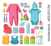 big set baby stuff.  ute set of ... | Shutterstock .eps vector #603191156