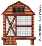 wooden cage on white background ... | Shutterstock .eps vector #603192212