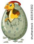 dinosaur hatching egg on white... | Shutterstock .eps vector #603192302