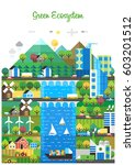 ecological city  renewable... | Shutterstock .eps vector #603201512