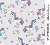 seamless pattern with unicorns... | Shutterstock .eps vector #603202172