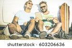 hipster best friends having fun ... | Shutterstock . vector #603206636