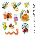 funny insects for kids. stickers   Shutterstock .eps vector #603221165