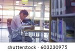 student in library | Shutterstock . vector #603230975