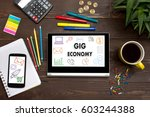 tablet with web icon gig... | Shutterstock . vector #603244388