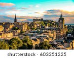 edinburgh skyline seen from... | Shutterstock . vector #603251225