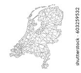 map of netherlands from... | Shutterstock .eps vector #603259532