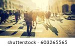 crowd of anonymous people... | Shutterstock . vector #603265565