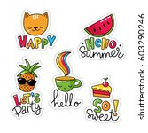 vector set of five cool... | Shutterstock .eps vector #603290246