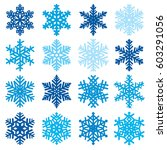 various snowflake shapes... | Shutterstock .eps vector #603291056
