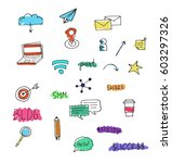 hand drawn smm and seo icons....   Shutterstock .eps vector #603297326
